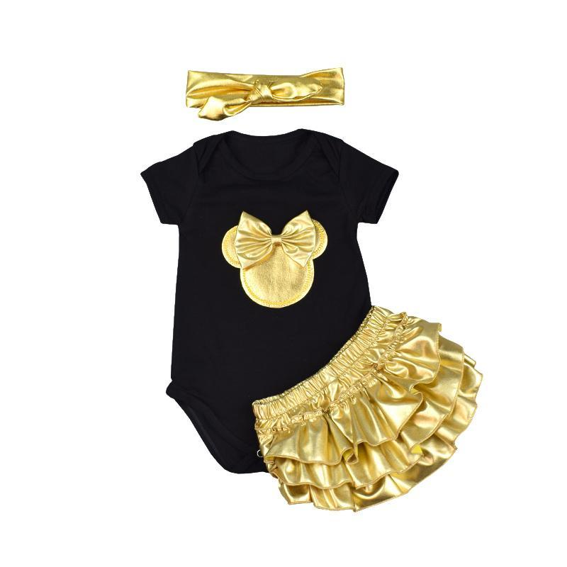 3pcs Rompers + Headbands + Golden Shorts Infant Clothing Set Clothing Sets Kids Now Apparel