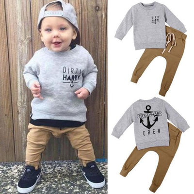 Anchor Print Hoodie Warm Top + Long Pants Toddler Clothing Sets Kids Now Apparel