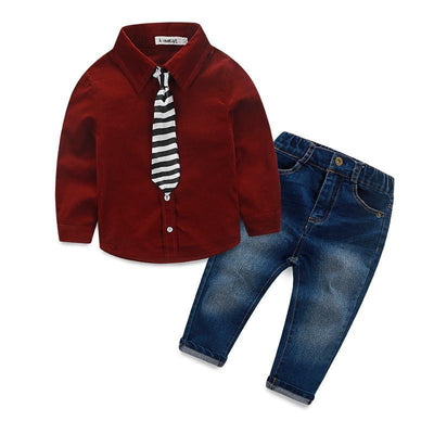 Baby Boy Long Sleeve Shirt + Jeans + Tie Suit Clothing Set Clothing Sets Kids Now Apparel