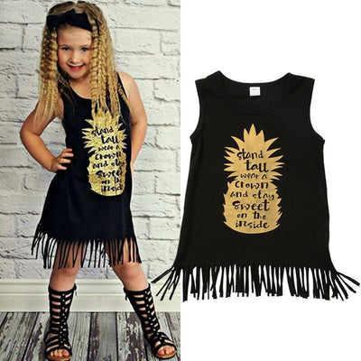 Back Fringed Sleeveless Toddler Boho Dress Dresses Kids Now Apparel