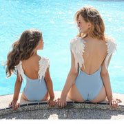 Backless Embroidery Wing One Piece Mommy And Me Swimsuits Body Suits Bikinx Store