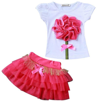 Big Rose Flower Shirt+Tutu Skirt Kids Clothing Sets Kids Now Apparel