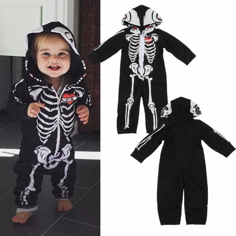 667a412c01e0 Black Hooded Baby Skeleton Halloween Costumes Kids Now Apparel