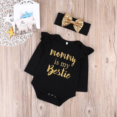 Black Romper + Headband Girl Set Baby onesies Kids Now Apparel