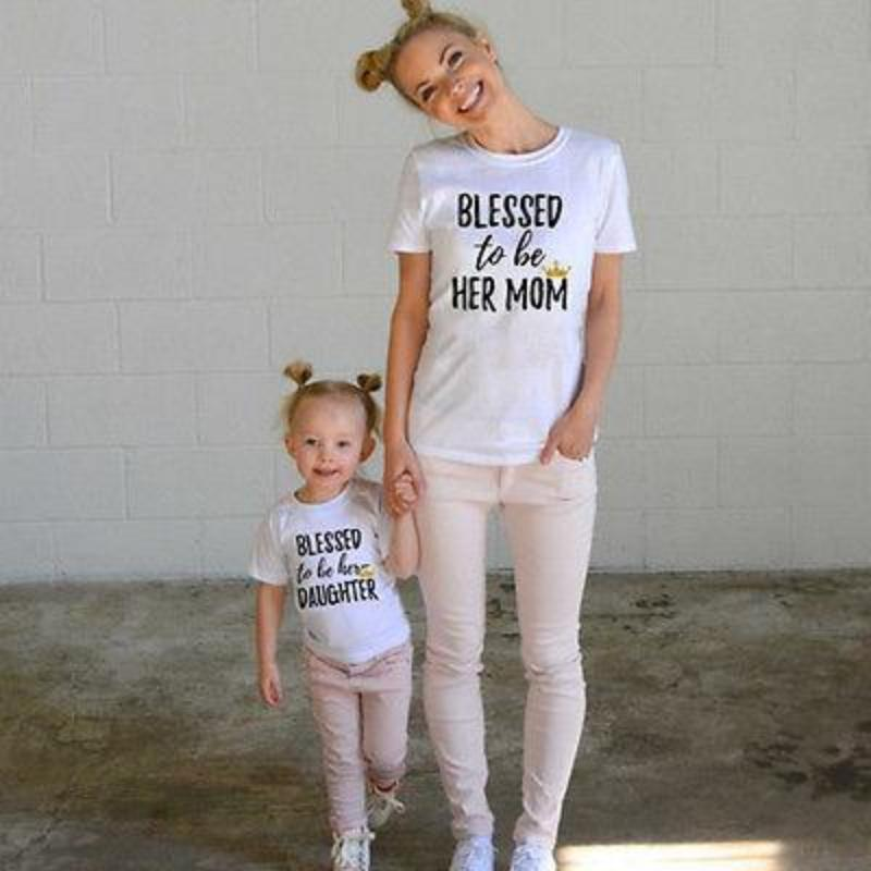 Blessed To Be Her Mom And Daughter Printed Matching Shirts Kids Now Apparel