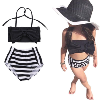 Bowknot Stripe Cotton Summer Toddler Bathing Suits Kids Now Apparel