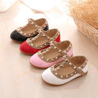 Casual Flat Shoes For Kids Rivets T Strap Flat Leather Shoes For Girls Leather Shoes Kids Now Apparel