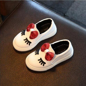Casual Glitter Bowknot Leather Toddler Girl Slip On Shoes Sneakers Firms integrity