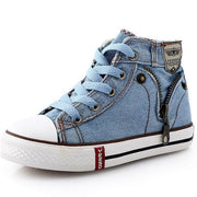 Casual Lace Up High Cut Kids Denim Sneaker Shoes Kids Now Apparel