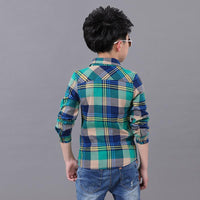 Casual Slim Plaid Long Sleeve Shirts For Boys Kids Now Apparel