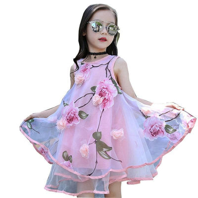 Childrens Floral Summer Dresss Sleeveless Mesh Dress For Girls Dresses Kids Now Apparel
