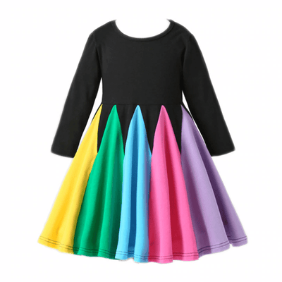 Colorful Dress Long Sleeve Unicorn Dress Dresses Kids Now Apparel