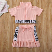 Crop Top And Skirt Set Knitted Toddler Dress Clothing Sets Kids Now Apparel