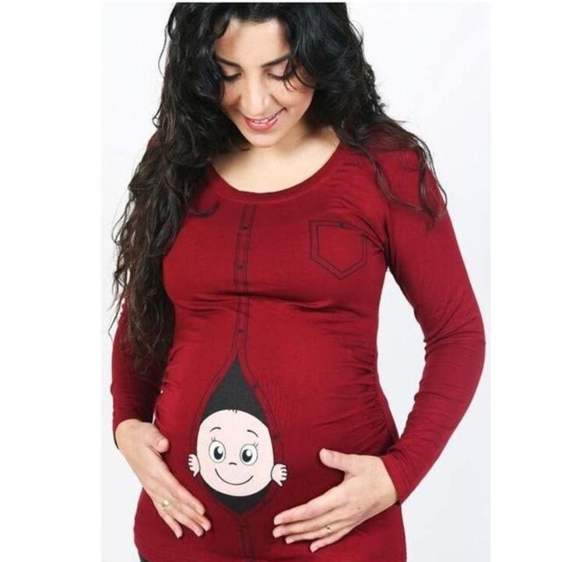 0703927dd4874 Baby Peeking Out Of Belly Funny Maternity Shirts | Kids Now Apparel