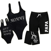 Cute Letter Print Family Matching Swimsuits - Black Matching Family Outfits Kids Now Apparel