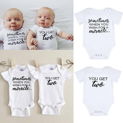 Cute Letter Print Playsuits Matching Twin Outfits Set Kids Now Apparel