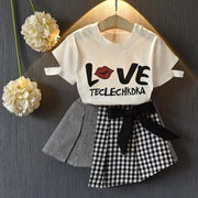 Cute Little Girls Clothing Plaid Girls Skirt With Matching Top Clothing Sets Kids Now Apparel