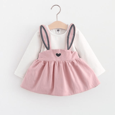 Cute Rabbit Ear Pleated Long Sleeve Dress For Girl Dresses Kids Now Apparel