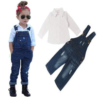Denim Bib Pants+Long Sleeve Shirts Children Fashion Set Kids Now Apparel