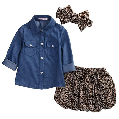 Denim Tops+Leopard Culotte Skirt+Headband Toddler Summer Clothes Kids Now Apparel