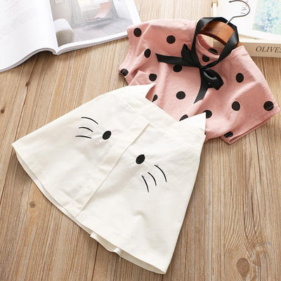 Dot Shirt With Cat Skirt Girl Two Piece Dress Clothing Sets Kids Now Apparel