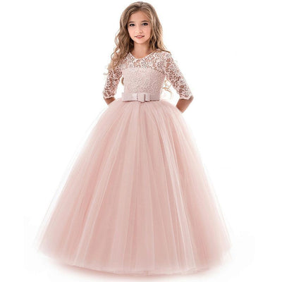 Embroidered Lace Quarter Sleeves Party Girls Formal Dresses Dresses Kids Now Apparel
