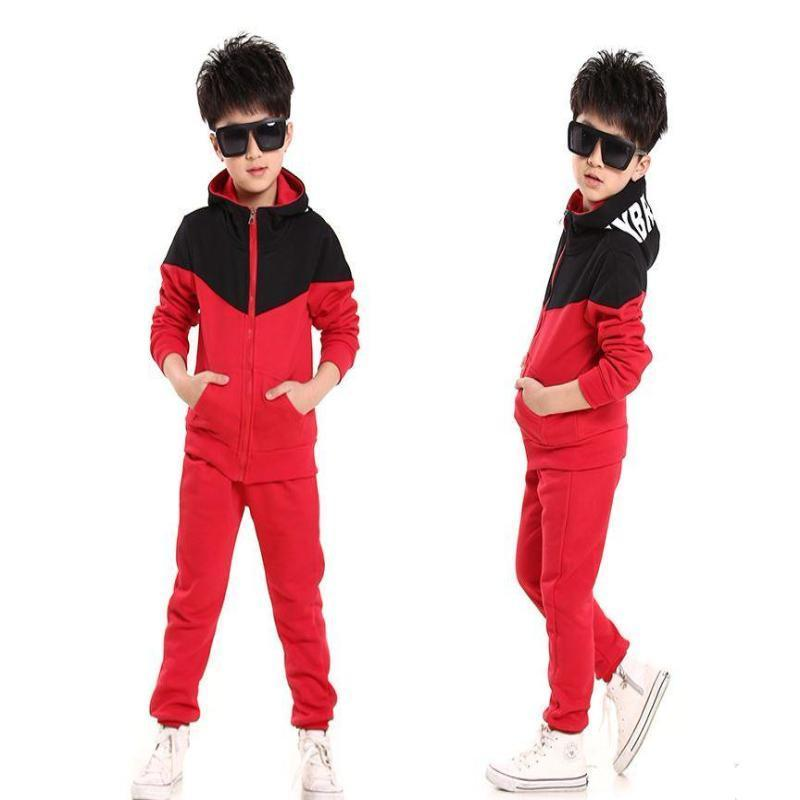 3eb5250f8 Fashion Patchwork Hooded Coats And Pants Toddler Tracksuits Kids Now Apparel