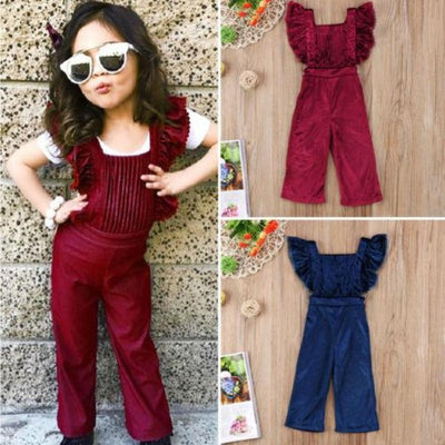Fashion Ruffle Lace Velvet Jumpsuits For Little Girls Kids Now Apparel