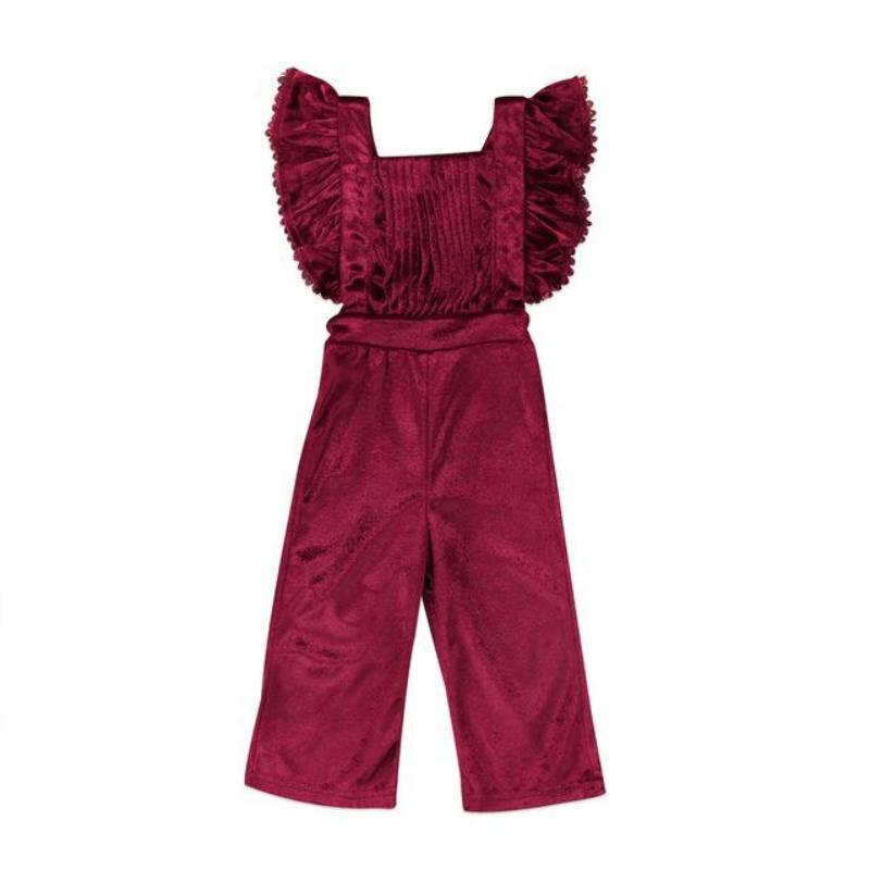 5b69e081a Fashion Ruffle Lace Velvet Jumpsuits For Little Girls Kids Now Apparel