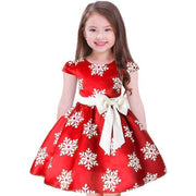 Fashion Snow Flakes Print Pleated Kids Dress Dresses Kids Now Apparel