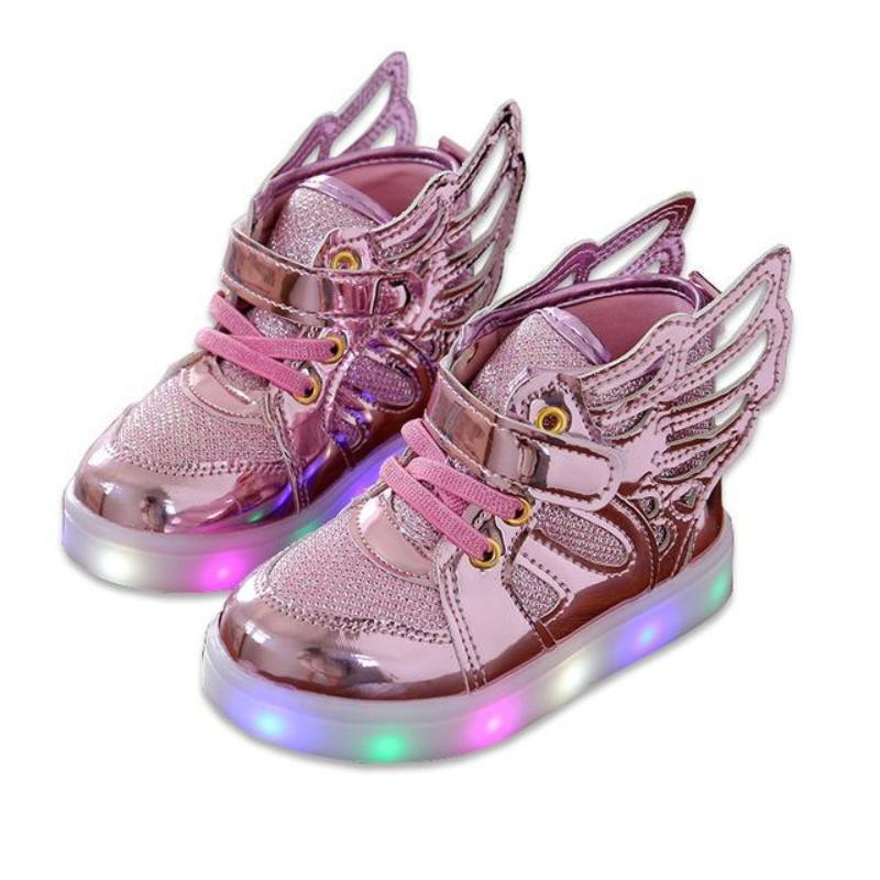 Fashion Wings Canvas Girls Glowing Sneakers Shoes Kids Now Apparel