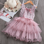 Floral Embroidered Mesh Dress Sleeveless Dress For Kids Dresses Kids Now Apparel