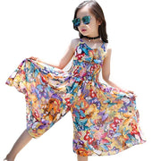 Floral Print Chiffon Elastic Loose Girls Summer Clothes Dresses Kids Now Apparel