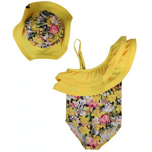 Floral Print One Piece Baby Girl Bathing Suits With Hat Children's Two-Piece Suits Kids Now Apparel