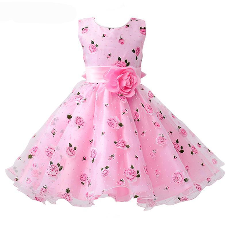 fa67a0c78f06e Floral Print Wide Sash Pleated Ball Gown Kids Party Dresses Kids Now Apparel
