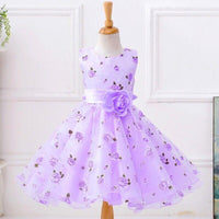 Floral Print Wide Sash Pleated Ball Gown Kids Party Dresses Kids Now Apparel