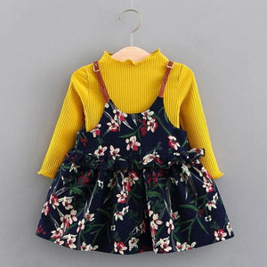 Flower Pleated Jumper+Knitted Top Kids Mini Dress Kids Now Apparel