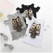 Fringe T Shirt Kids Sequin Shirt Cut Out Shoulder Tops Tops & Tees Kids Now Apparel
