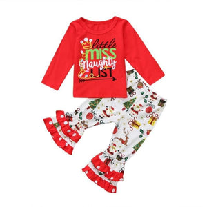 Girl Christmas Outfits With Leggings - 2 Pcs Long Sleeves Tops Toddler Ruffle Pants Set Girls Clothing Sets Kids Now Apparel