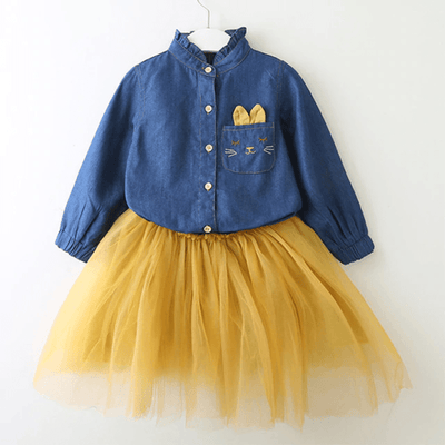 Girls Outfit Sets Soft Denim Top Tulle Skirt For Toddler Dresses Kids Now Apparel
