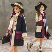 Girls Woolen Coat Kids Long Trench Coat Girls' Coats & Jackets Kids Now Apparel