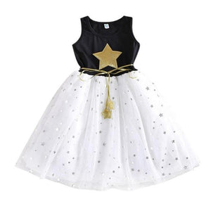 Glitter Star Print Sleeveless Girl Party Dress With Belt Kids Now Apparel