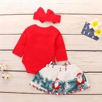 Headband+Romper+Skirt Christmas Outfit Clothing Sets Kids Now Apparel