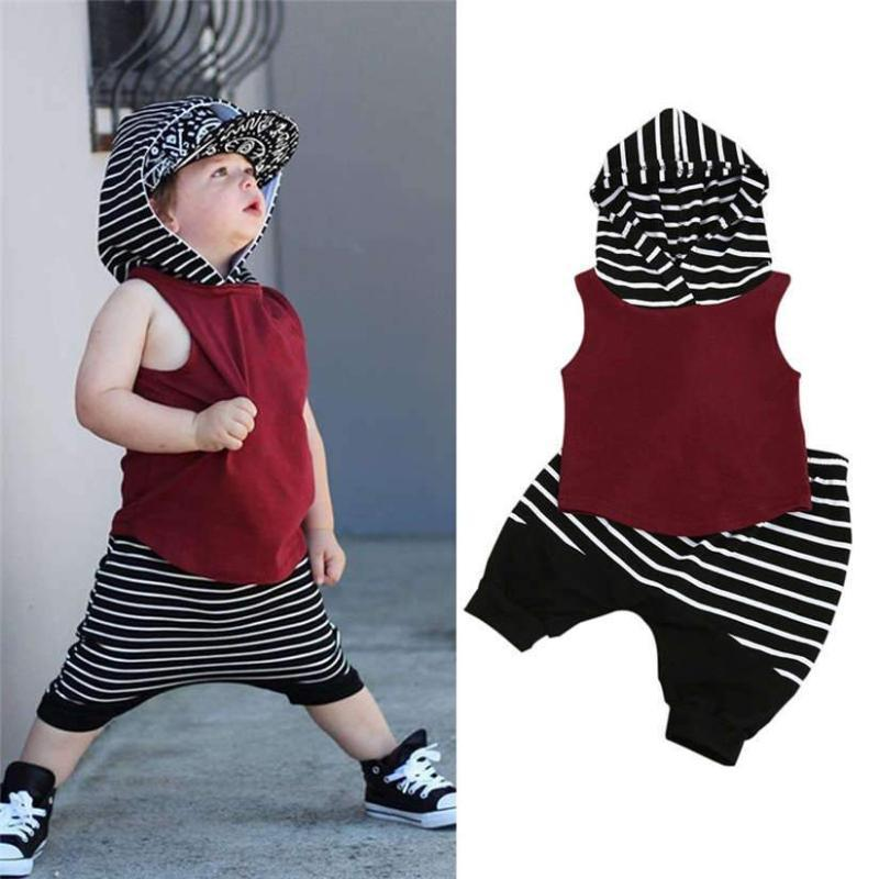 2a3294fa Hooded Vest Tops+Loose Shorts Toddler Boy Summer Clothes Kids Now Apparel