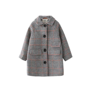 Kids Winter Coats Houndstooth Wool Coat For Girls Jackets & Coats Kids Now Apparel