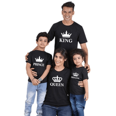 King Queen Prince Princess Printed Family Matching T Shirts Matching Family Outfits Kids Now Apparel