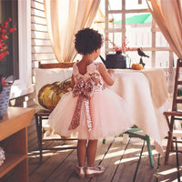 Lace Big Bow Sequin Little Girls Party Dresses Dresses Kids Now Apparel