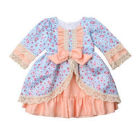 Lace Bowknot Ruffles Dress Baby Girl Party Dresses Dresses Kids Now Apparel