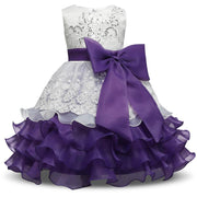 Layered Ruffle Embroidered Lace Bowknot Ball Gown For Kids Kids Now Apparel