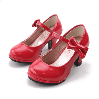 Leather Bowtie Little Girl High Heel Shoes Leather Shoes Kids Now Apparel